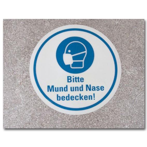 """Bodenmarkierung """"Bitte Mund und Nase bedecken"""" Motiv 1"""